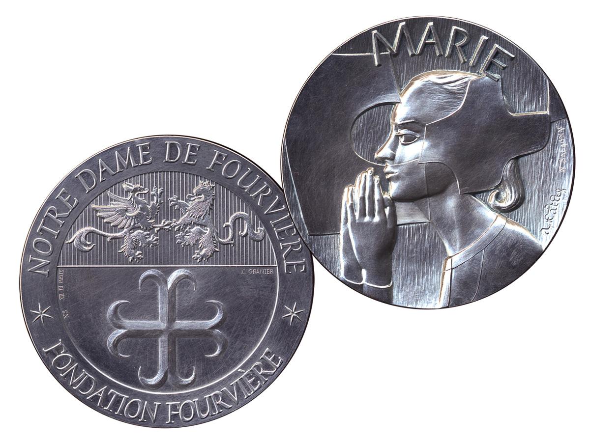 Médaille de la Fondation de Fourvière, dessin Arcabas