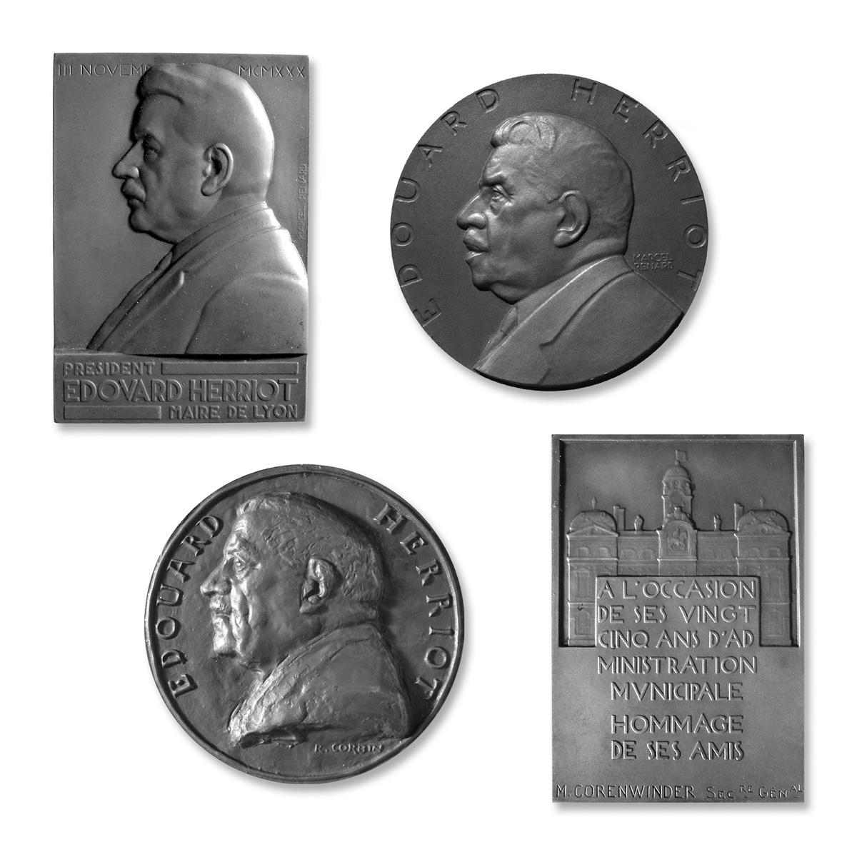 Edouard Herriot (1930) par Renard, face et revers Bronze - 75 x 51 mm ; Edouard Herriot (1952) par Renard, face Bronze - dia. 80 mm ; Edouard Herriot par Corbin, face Bronze dia. 81 mm. Photographies © Jean-Pol Donné