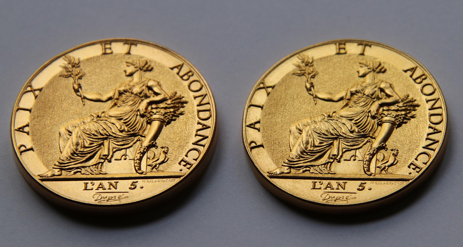 Création d'une médaille d'après la 10 grammes or de Dupré qui n'avait jamais vu le jour